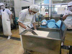 緊張の一瞬!豆腐を切ります。